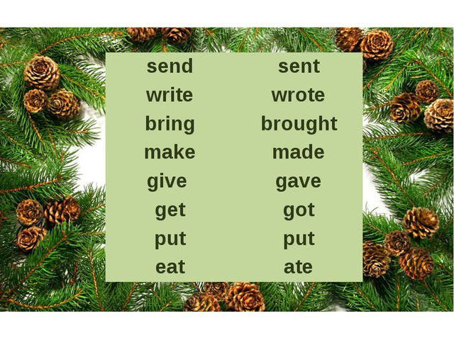 send sent write wrote bring brought make made give gave get got put put eat ate