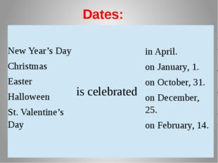Dates: NewYear's Day Christmas Easter Halloween St. Valentine's Day    isc