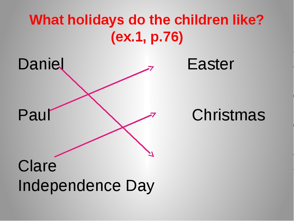 What holidays do the children like? (ex.1, p.76) Daniel Easter Paul Christmas...