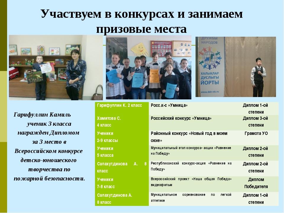 Участвуем в конкурсах и занимаем призовые места Гарифуллин Камиль ученик 3 кл...
