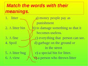 litter a) money people pay as punishment 2. A litter bin b) to damage somethi