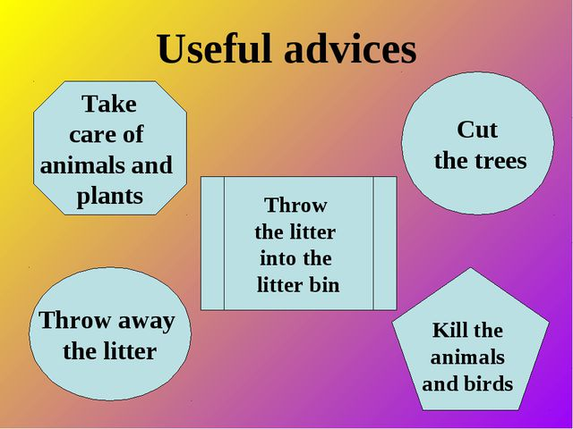 Useful advices Take care of animals and plants Kill the animals and birds Cut...