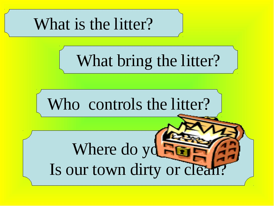 What is the litter? What bring the litter? Who controls the litter? Where do...