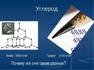 Углерод Алмаз 3500 кг/м3 Графит 2100 кг/м3 Почему же они такие разные?