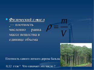Физический смысл — плотность численно равна массе вещества в единице объема П