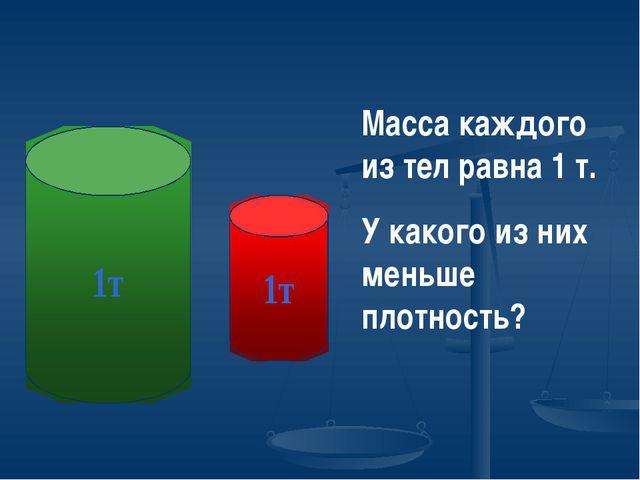 Масса каждого из тел равна 1 т. У какого из них меньше плотность?