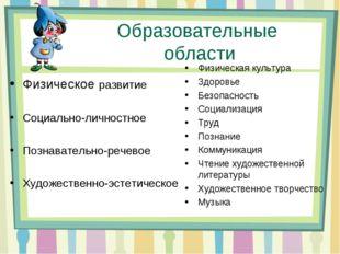 Образовательные области Физическое развитие Социально-личностное Познаватель
