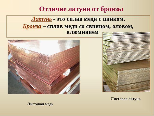 Отличие латуни от бронзы Латунь - это сплав меди с цинком. Бронза – сплав мед...
