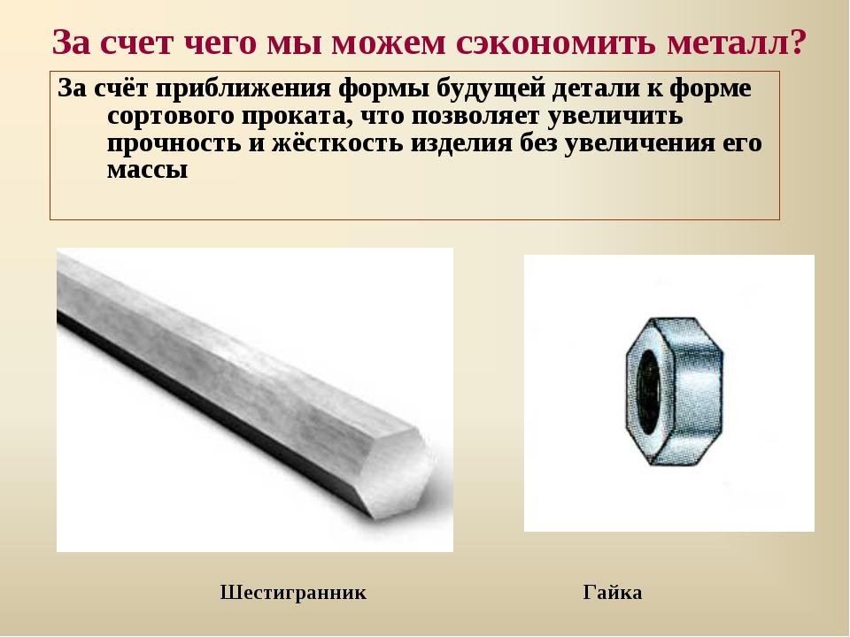 За счет чего мы можем сэкономить металл? За счёт приближения формы будущей де...