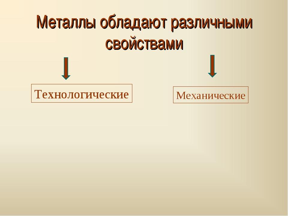 Металлы обладают различными свойствами Технологические Механические