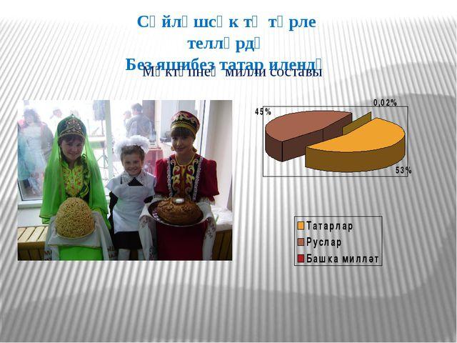 Сөйләшсәк тә төрле телләрдә Без яшибез татар илендә Мәктәпнең милли составы