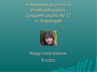 Алматинская область Илийский район Средняя школа № 17 п. Боралдай Асадуллина