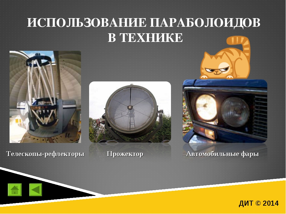 ДИТ © 2014 ИСПОЛЬЗОВАНИЕ ПАРАБОЛОИДОВ В ТЕХНИКЕ Телескопы-рефлекторы Прожекто...