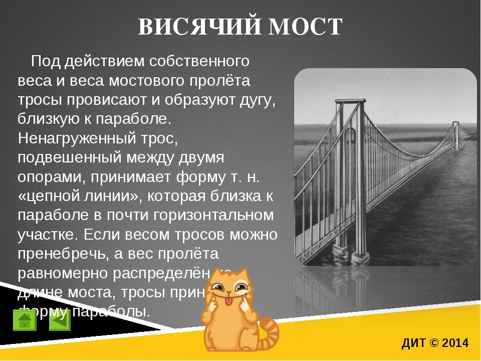 ВИСЯЧИЙ МОСТ ДИТ © 2014 Под действием собственного веса и веса мостового прол...