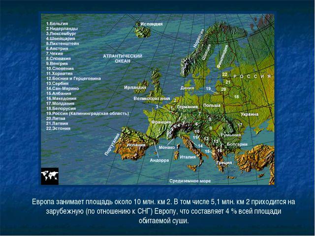 Европа занимает площадь около 10 млн. км 2. В том числе 5,1 млн. км 2 приходи...