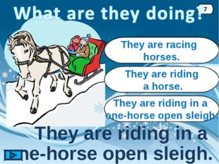 They are riding in a one-horse open sleigh. 7 They are racing horses. They ar