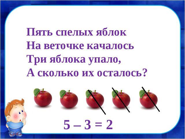 Пять спелых яблок На веточке качалось Три яблока упало, А сколько их осталось...