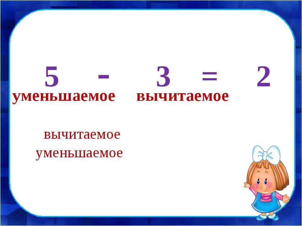 в 5 - 3 = 2 вычитаемое уменьшаемое уменьшаемое вычитаемое