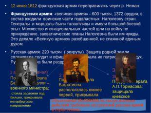 12 июня 1812 французская армия переправилась через р. Неман Французская армия