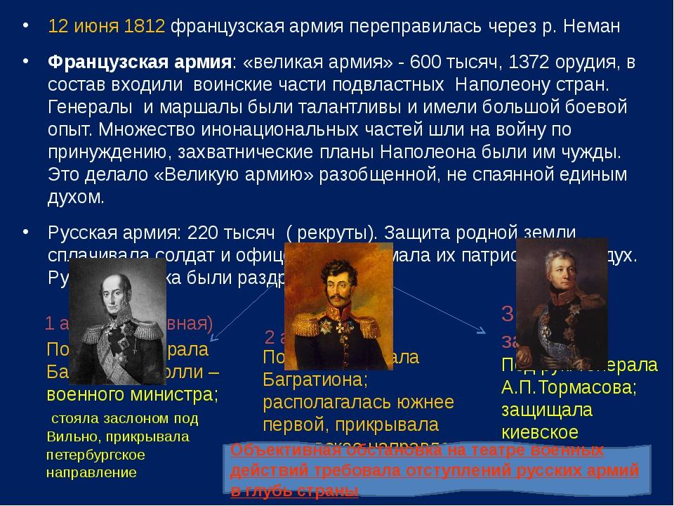 12 июня 1812 французская армия переправилась через р. Неман Французская армия...