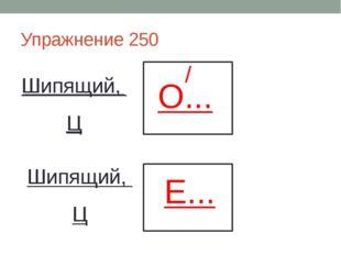 Упражнение 250 Шипящий, Ц О... / Шипящий, Ц Е...