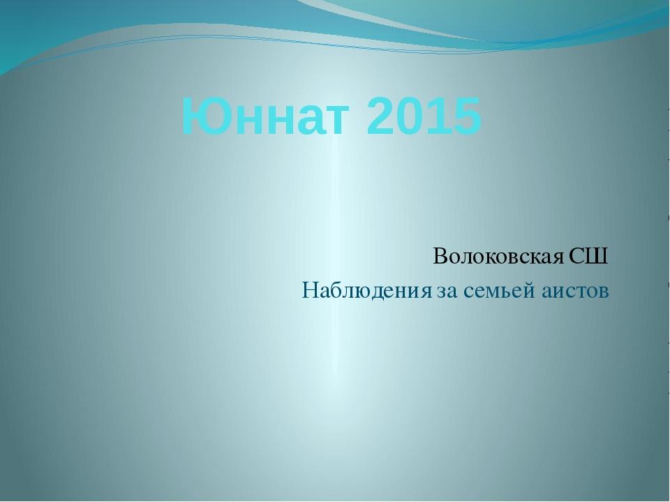 Юннат 2015 Волоковская СШ Наблюдения за семьей аистов