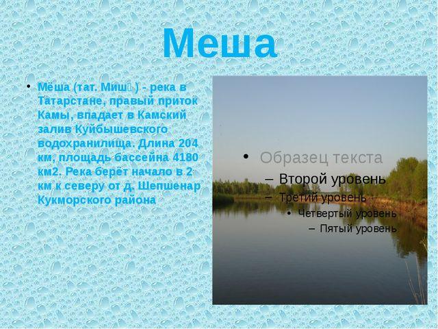 Меша Мёша (тат. Мишә) - река в Татарстане, правый приток Камы, впадает в Камс...