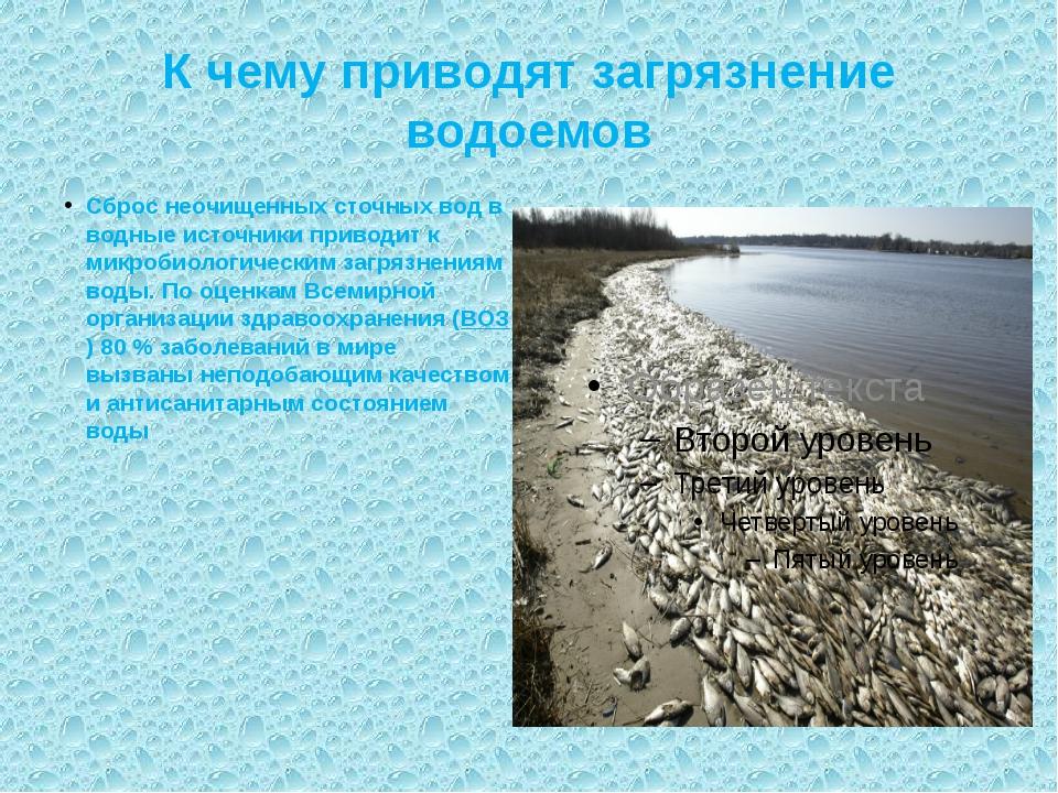 К чему приводят загрязнение водоемов Сброс неочищенных сточных вод в водные и...