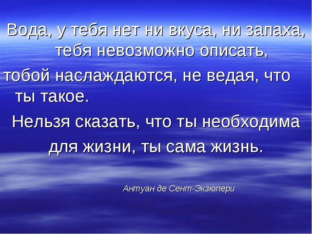 Вода, у тебя нет ни вкуса, ни запаха, тебя невозможно описать, тобой наслажда...