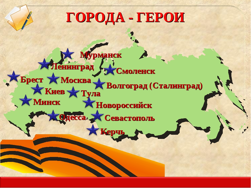 Москва Ленинград Минск ГОРОДА - ГЕРОИ Керчь Волгоград (Сталинград) Киев Одесс...