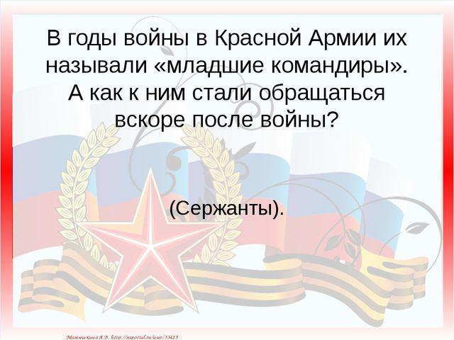 В годы войны в Красной Армии их называли «младшие командиры». А как к ним ста...