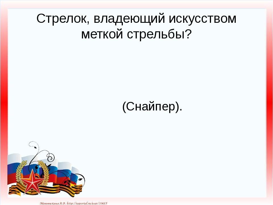 Стрелок, владеющий искусством меткой стрельбы? (Снайпер). Матюшкина А.В. http...