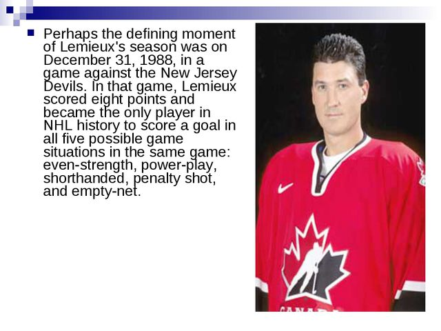 Perhaps the defining moment of Lemieux's season was on December 31, 1988, in...