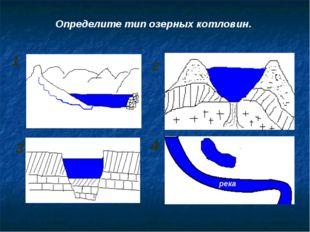 1 2 3 4 Определите тип озерных котловин. река