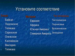 Установите соответствие Озера Байкал Ладожское Титикака Сарезское Онежское Ка