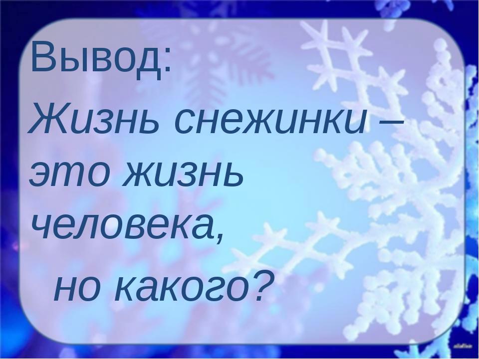 Вывод: Жизнь снежинки – это жизнь человека, но какого?