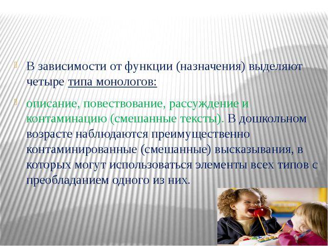 В зависимости от функции(назначения) выделяют четыретипа монологов: описа...