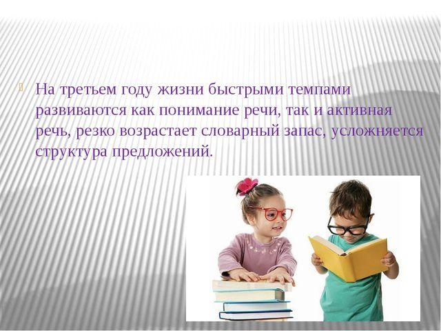 На третьем году жизни быстрыми темпами развиваются как понимание речи, так и...