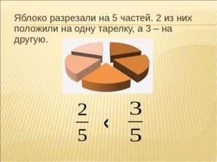 Яблоко разрезали на 5 частей. 2 из них положили на одну тарелку, а 3 – на дру