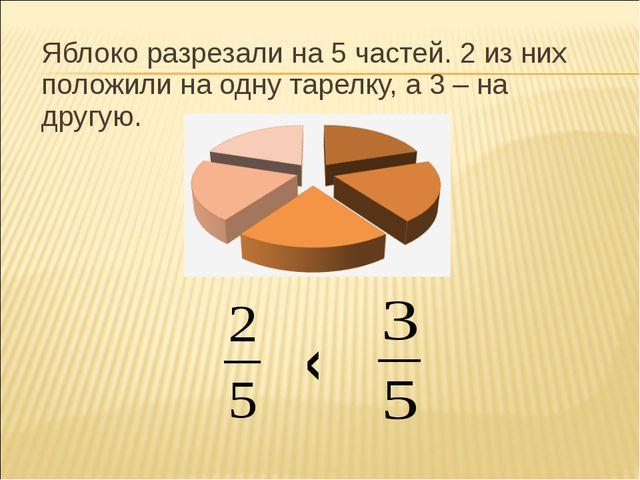 Яблоко разрезали на 5 частей. 2 из них положили на одну тарелку, а 3 – на дру...