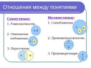 Отношения между понятиями Совместимые: 1. Равнозначность 2. Отношение подчине