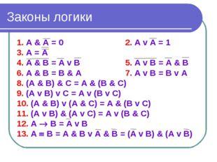 Законы логики 1. А & А = 02. А v А = 1 3. А = А 4. А & В = А v В5. А v