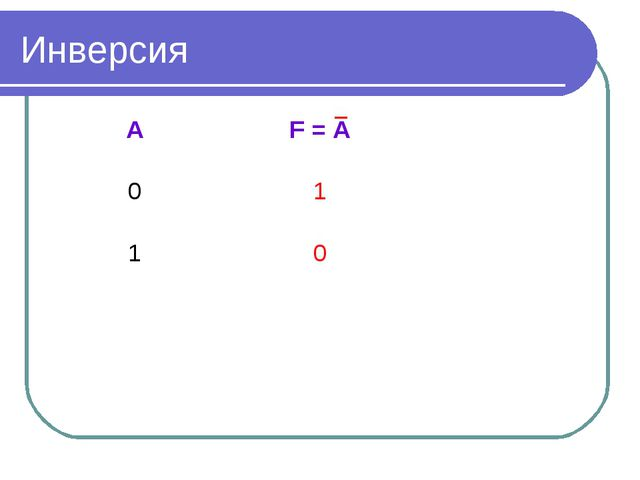 Инверсия АF = A 01 10