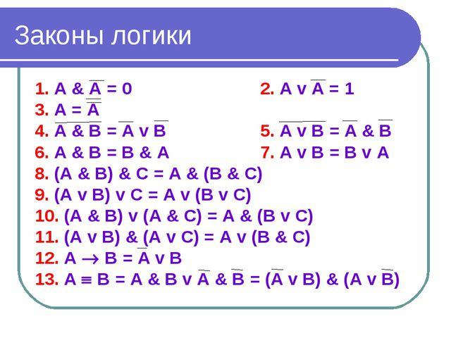 Законы логики 1. А & А = 02. А v А = 1 3. А = А 4. А & В = А v В5. А v...