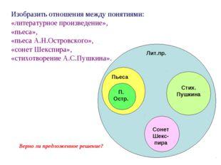 Изобразить отношения между понятиями: «литературное произведение», «пьеса», «