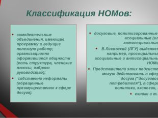 Классификация НОМов: самодеятельные объединения, имеющие программу и ведущие