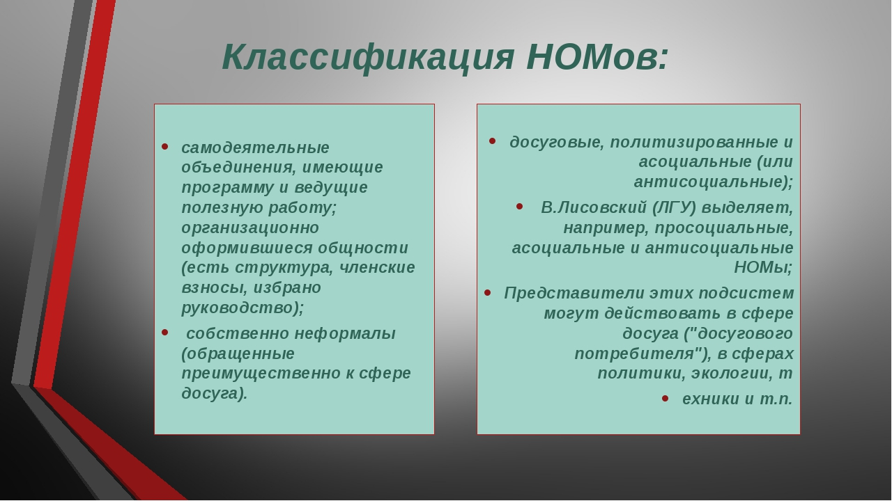 Классификация НОМов: самодеятельные объединения, имеющие программу и ведущие...