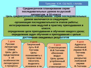 Среднесрочное планирование серии последовательных уроков по русской литератур
