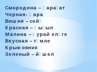 Смородина – ҡарағат Черная- ҡара Вишня – сейә Красная – ҡыҙыл Малина – ҡурай