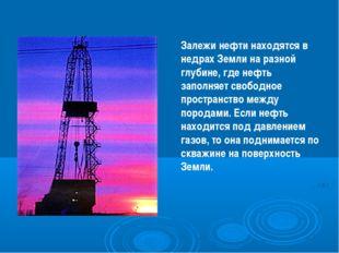 Залежи нефти находятся в недрах Земли на разной глубине, где нефть заполняет